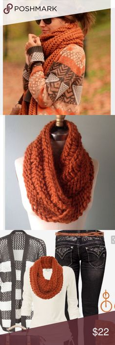 GORGEOUS KNITTED SCARF Chunky knitted infinity scarf Accessories Scarves & Wraps