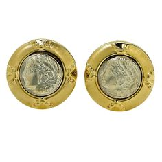 Gold Roman Coin Earrings | From a unique collection of vintage clip-on earrings at https://www.1stdibs.com/jewelry/earrings/clip-on-earrings/