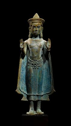 Standing Buddha with both hands in vitarka mudra (teaching gesture). Lopburi or Northeast Thailand, mid 12th century.♥♥♥
