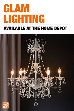 Home Decorators Collection Chrome Crystal Chandelier Add a touch of glam to your entryway, b Decor, Crystal Light, Glam Lighting, Crystal Chandelier, Home Decorators Collection, Home Decor, Home Lighting, Light, Chandelier