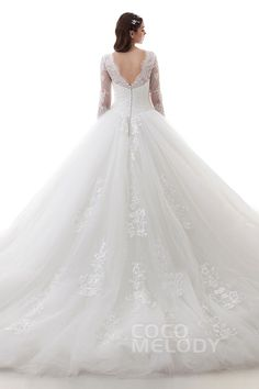 Latest Ball Gown Illusion Lace and Tulle Ivory Long Sleeve Open Back Wedding Dress with Appliques and Beading LD4457 #weddingdresses #ballgowndresses #cocomelody #customdresses