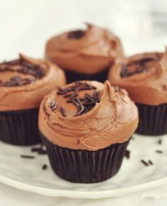 Dark Chocolate Cupcakes with Rich Chocolate Frosting - Vegan