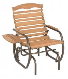 Jack Post Country Garden Natural Patio Glider Chair With Trays Cg Outdoor Glider Chair, Glider Rocking Chair, Patio Glider, Outdoor Rocking Chairs, Patio Swing, Swing Seat, Deck Patio, Rustic Furniture, Outdoor Furniture