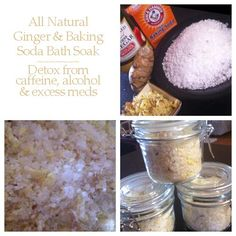 Detoxing bath salts with ginger & apple cider vinegar.  Gets rid of excess caffeine, liquor and medications