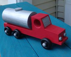 Handcrafted Wood Toy Tanker Truck   Etsy Metal Building Homes, Building A House, Wood Projects, Projects To Try, Wooden Car, Garage Workshop, Metal Buildings, Scroll Saw, Wooden Crafts