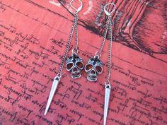 Skull Spike Earrings Badass Jewelry Skull Earrings by SpoiledRockN, $12.50