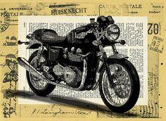 Print Art Vintage Bike Triumph Motorcycle Illustration by rcolo, $10.00