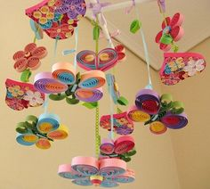 Crib Mobile - Baby Mobile - Nursery Mobile - Butterfly Mobile - Paper Mobile via Etsy quilledBaby Mobile - Crib Mobile - Baby Nursery Mobile - Flower Mobile - Quilling Mobile - Baby Girl Mobiles - Birds in Rainbow Garden ,Items similar to Swarovski S Bird Mobile, Flower Mobile, Butterfly Mobile, Mobile Mobile, Rainbow Butterfly, Quilling Designs, Paper Quilling, Diy And Crafts, Crafts For Kids