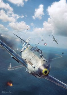 Commisioned illustration for Battle of Britain Combat Archive Vol. 1 by Simon Perry. Scene, textures and illustration by Piotr Forkasiewicz. Luftwaffe, Ww2 Aircraft, Military Aircraft, Air Fighter, Fighter Jets, Focke Wulf, War Thunder, Airplane Art, Ww2 Planes