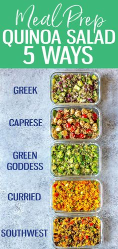 These easy Quinoa Salad Recipes are perfect for meal prep - choose from 5 flavours: southwest, curried, Mediterranean, caprese or green goddess. They're full of protein and super healthy! #quinoasalad #mealprep #glutenfree