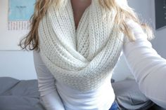 Chunky knit scarf + long sleeve