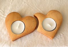 Two heart candle holder Wooden candle holder by BunBunWoodworking