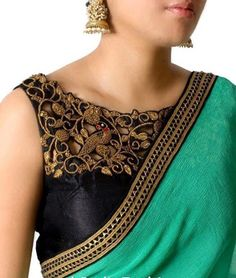 Cut work blouse design - Green saree with black blouse sari Black Blouse Designs, Sari Blouse Designs, Saree Blouse Patterns, Skirt Patterns, Coat Patterns, Clothes Patterns, Sewing Patterns, Zardosi Work Blouse, Cut Work Blouse