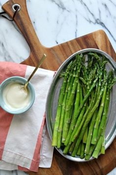 Sesame Asparagus Spears With Lemon Mayo Drizzle