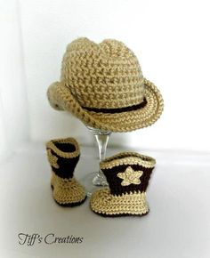 Baby cowboy cowgirl gift set - cowboy hat and cowboy boots - any colors available in newborn - 12 months sizes. $42.00, via Etsy.