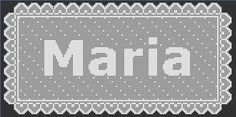 Filet Crochet - Maria Name Doily Filet Crochet, Thread Crochet, Crochet Hooks, Knit Crochet, Crochet Stitches Patterns, Stitch Patterns, Crochet Letters, Crochet Instructions, Crochet Projects