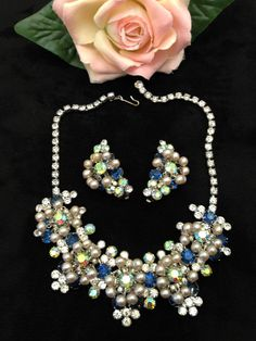 Vintage JULIANA Sapphire Rhinestone and Pearl Dangles Necklace Climber Earrings #Juliana