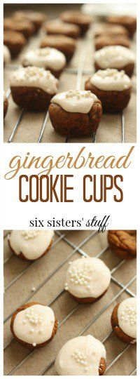 Gingerbread Cookie Cups from SixSistersStuff.com | Delicious, made from scratch cookies. A perfect fall dessert!