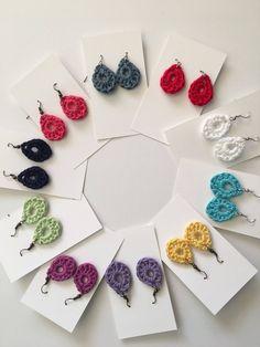 Items similar to Dew Drop Fiber Earrings on Etsy – Britta Johannsen - Crochet Crochet Jewelry Patterns, Crochet Earrings Pattern, Crochet Accessories, Crochet Necklace, Diy Earrings, Earrings Handmade, Hoop Earrings, Tape Crafts, Diy Crafts