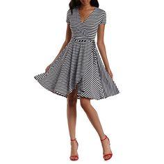 ee734bd099c1f Striped Wrap Skater Dress