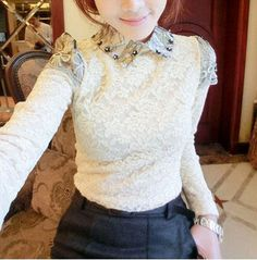 Embroidered Collar & Shoulder Design Apricot Lace T-shirt