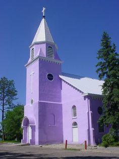 St. Francis Mission, Rose Bud, South Dakota  Wow a purple church!