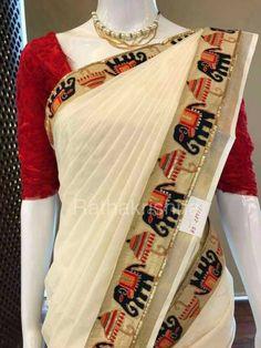 Cotton saree elephant border with blouse piece Classic Indian Saris Click VISIT link to read more Indian Saris CLICK Visit link above for more details Kerala Saree Blouse, Lace Saree, Saree Dress, Cotton Saree, Indian Designer Sarees, Indian Designer Wear, Indian Sarees, Saree Blouse Patterns, Saree Blouse Designs