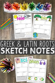 Sketch Notes for Greek and Latin roots! The ultimate vocabulary resource that your students will love. Teaching Vocabulary, Grammar And Vocabulary, Teaching Science, Life Science, Teaching Resources, Teaching Ideas, Earth Science, Fifth Grade, Third Grade