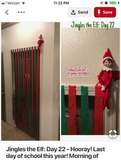 Elf on the shelf ideas: have him repel from streamers Christmas Elf, All Things Christmas, Christmas Crafts, Christmas Ideas For Kids, Christmas Vacation, Christmas Countdown, Christmas Carol, Christmas Inspiration, Christmas Activities