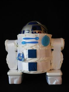 Diaper Cake  I was estatic when asked if I would make something for a baby shower with the nursery the. Diaper Cake Boy, Nappy Cakes, Baby Shower Crafts, Shower Gifts, R2d2, Couches, Unique Diaper Cakes, Star Wars Baby, Baby Sewing Projects