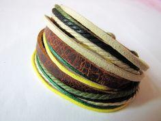 Mens Womens Real Leather and Cotton Ropes Woven Bracelet Wristband cuff bracelet friendship bracelets by braceletcool, $8.50