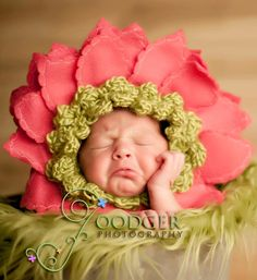 Ready to Ship... Lime with Dark Pink Petals Gerber Daisy Bonnet newborn baby  prop  flower hat .. Wonderful for keepsake portraits & props. $24.95, via Etsy.