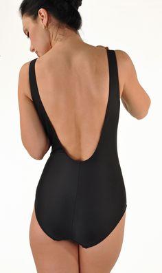 Janine Robin Women's French Swimwear - 'Copacabana' One Piece Low Back with Swarovsky Jewels