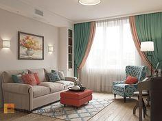 Фото: Гостиная - Интерьер квартиры в стиле легкой классики, ЖК «Академ-Парк», 68 кв.м.