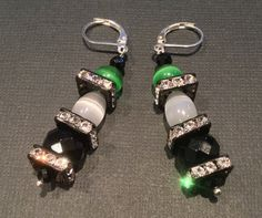 CatchyTreasures Art Deco style Earrings, Protection with Black Onyx, Mexican Green and White Opals and Gun Metal Squaredelle Crystals by CatchyTreasures on Etsy