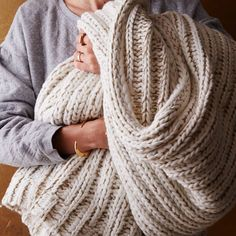 This cozy knit throw is just the thing to snuggle up with on cold winter nights. west elm will donate 50% of the purchase price directly to St. Jude Children's Research Hospital while supplies last. A great gift!