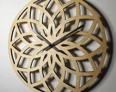 "LOTUS WALL CLOCK Contemporary 12"" Birch Wood"