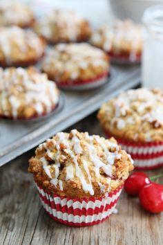 Cherry Almond Streusel Muffins Recipe from @twopeasandpod