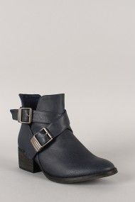 Breckelle Bronco-11 Leatherette Buckle Cut Out Ankle Bootie