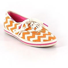 Sold out Kate spade keds collaboration Adorable orange chevron shoes worn once. Fits true to size. Stylish and comfy! kate spade Shoes
