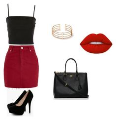 """Outfit"" by vicky-skoufh on Polyvore featuring Topshop, Boohoo, Prada and Lime Crime"