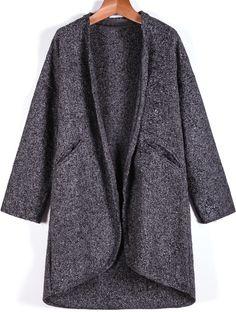 Mantel aus Tweed Langarm mit Taschen, grau 32.30
