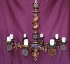 "HUGE!! 35"" Anitque French Chandelier Barley Twist Ceiling Lamp 8- Light Fixture"