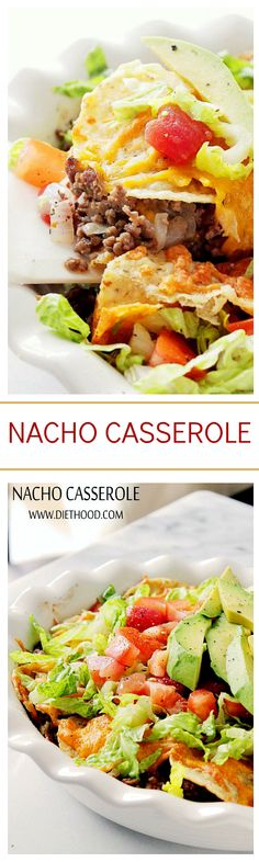 This is such an AWESOME dish! Nacho Casserole made with layers of ground beef, tomatoes, tortilla chips and lots of cheese!!