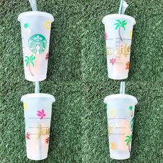 starbucks cold Cup tropical Personalized on Mercari Personalized Starbucks Cup, Custom Starbucks Cup, Starbucks Tumbler, Personalized Tumblers, Starbucks Crafts, Studios D'art, Starbucks Water Bottle, Custom Cups, Tumbler Cups