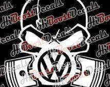 VW Volkswagen SKULL Auto Decal Sticker vinyl decal jetta vr6 cc passat bettle golf gti r32 golf r tiguan tourag illest turbo nos