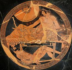 Homer, The Iliad - TROJAN WAR - Achilles keeping Hector's corpse. Tondo from an Attic red-figured cup, ca. 490–480 BCE.