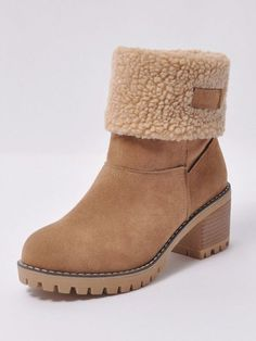 Winter Women Fashion Ankle Boots Flock High Heel Short Booties For Ladies Big Size Woman Botas Fur Warm Shoes Khaki Green, Green And Grey, Buy Shoes, Dress Shoes, Free Shopping Cart, Ugg Boots, Ankle Boots, Suede, Black Shoes