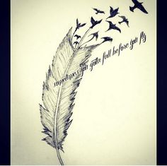 Cute little feather tattoo