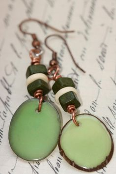 Hey, I found this really awesome Etsy listing at http://www.etsy.com/listing/158008283/earrings-green-tagua-nut-copper-french